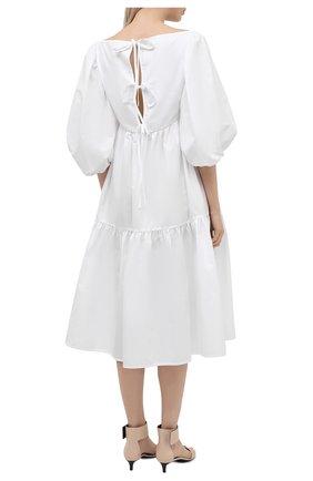 Женское хлопковое платье CECILIE BAHNSEN белого цвета, арт. SS21.02-0012   Фото 4 (Случай: Повседневный; Материал внешний: Хлопок; Длина Ж (юбки, платья, шорты): Миди; Рукава: 3/4; Стили: Бохо; Материал подклада: Хлопок)