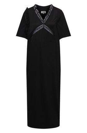 Женское хлопковое платье MM6 черного цвета, арт. S62CT0128/S23588 | Фото 1