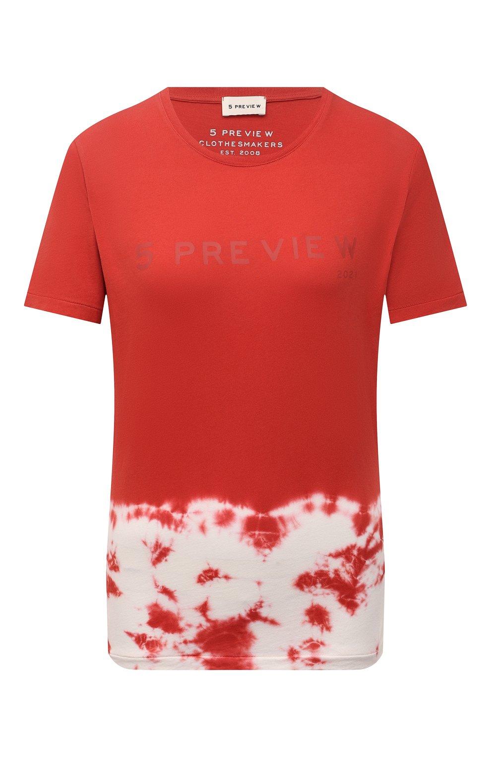 Женская хлопковая футболка 5PREVIEW красного цвета, арт. 5PW21044   Фото 1 (Рукава: Короткие; Длина (для топов): Стандартные; Принт: С принтом; Материал внешний: Хлопок; Стили: Спорт-шик; Женское Кросс-КТ: Футболка-одежда)