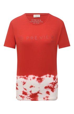 Женская хлопковая футболка 5PREVIEW красного цвета, арт. 5PW21044 | Фото 1