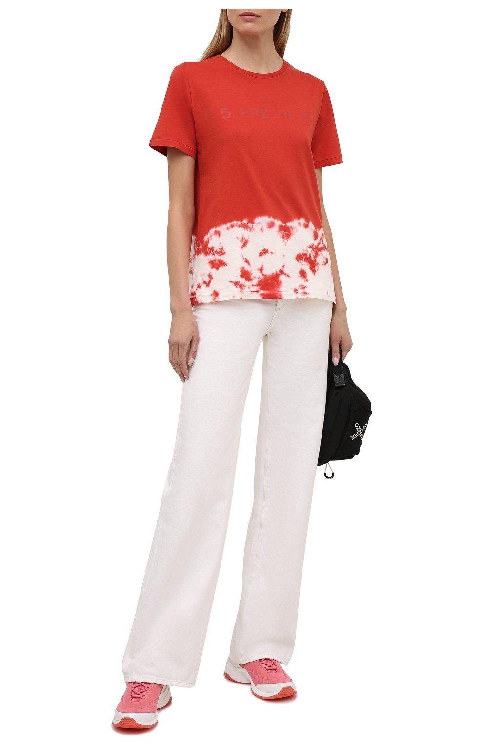 Женская хлопковая футболка 5PREVIEW красного цвета, арт. 5PW21044   Фото 2 (Рукава: Короткие; Длина (для топов): Стандартные; Принт: С принтом; Материал внешний: Хлопок; Стили: Спорт-шик; Женское Кросс-КТ: Футболка-одежда)