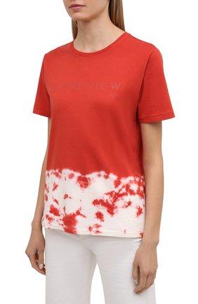 Женская хлопковая футболка 5PREVIEW красного цвета, арт. 5PW21044   Фото 3 (Рукава: Короткие; Длина (для топов): Стандартные; Принт: С принтом; Материал внешний: Хлопок; Стили: Спорт-шик; Женское Кросс-КТ: Футболка-одежда)