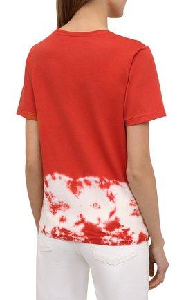 Женская хлопковая футболка 5PREVIEW красного цвета, арт. 5PW21044   Фото 4 (Рукава: Короткие; Длина (для топов): Стандартные; Принт: С принтом; Материал внешний: Хлопок; Стили: Спорт-шик; Женское Кросс-КТ: Футболка-одежда)