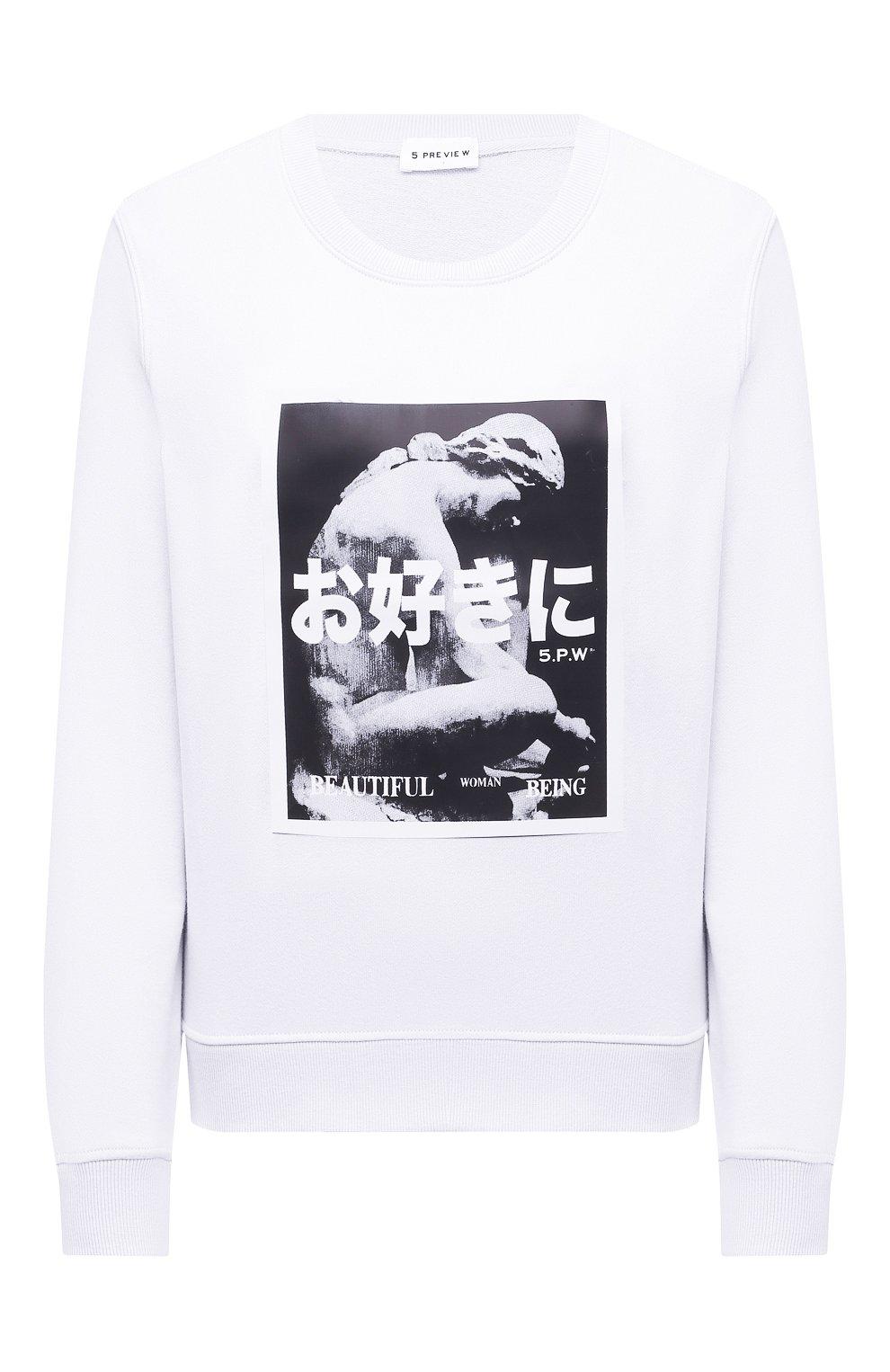 Женский хлопковый свитшот 5PREVIEW белого цвета, арт. 5PW21124 | Фото 1 (Рукава: Длинные; Длина (для топов): Стандартные; Материал внешний: Хлопок; Стили: Спорт-шик; Женское Кросс-КТ: Свитшот-одежда)