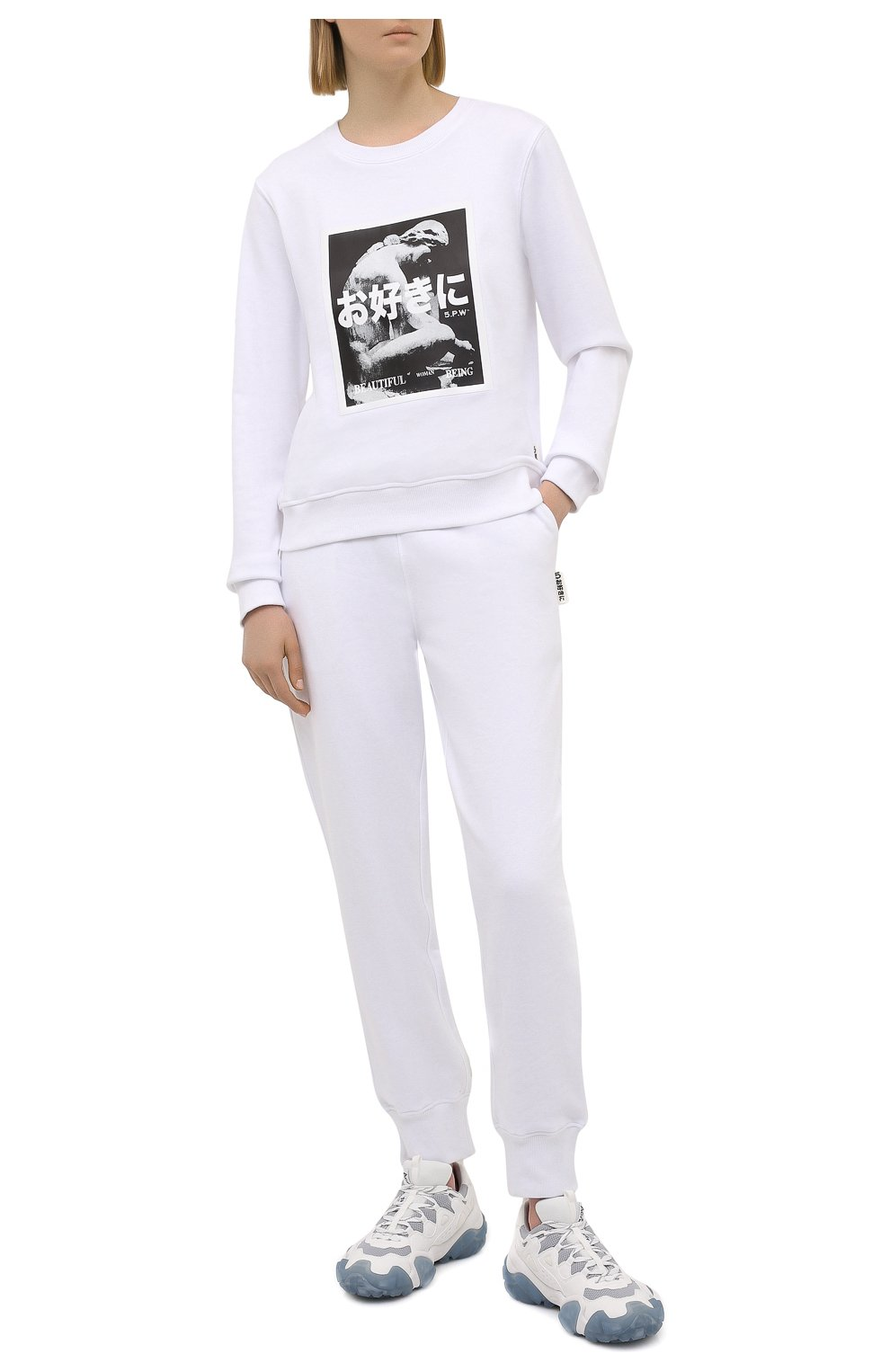 Женский хлопковый свитшот 5PREVIEW белого цвета, арт. 5PW21124 | Фото 2 (Рукава: Длинные; Длина (для топов): Стандартные; Материал внешний: Хлопок; Стили: Спорт-шик; Женское Кросс-КТ: Свитшот-одежда)