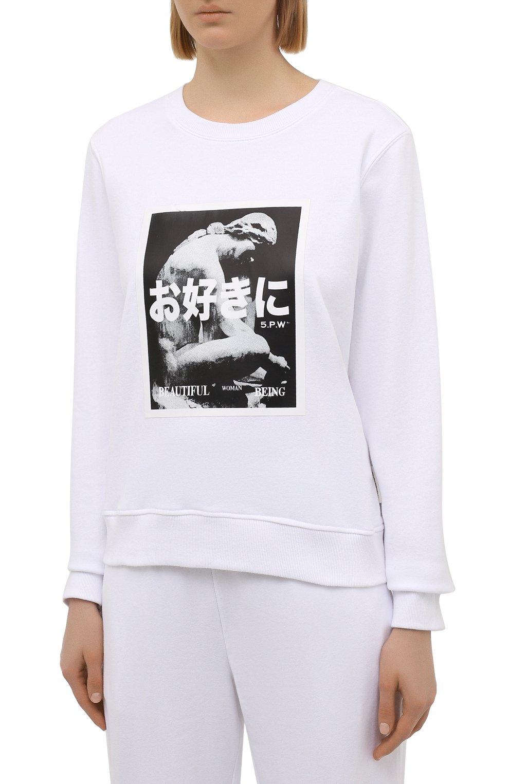 Женский хлопковый свитшот 5PREVIEW белого цвета, арт. 5PW21124 | Фото 3 (Рукава: Длинные; Длина (для топов): Стандартные; Материал внешний: Хлопок; Стили: Спорт-шик; Женское Кросс-КТ: Свитшот-одежда)