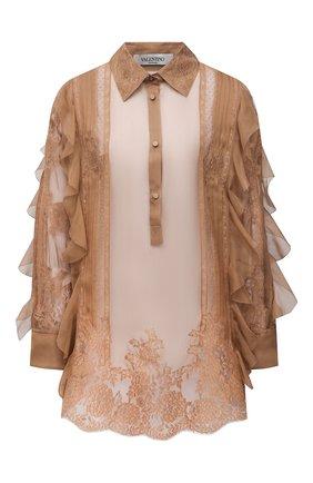 Женская шелковая блузка VALENTINO светло-коричневого цвета, арт. VB0AE5X52UP | Фото 1 (Длина (для топов): Удлиненные; Материал внешний: Шелк; Принт: С принтом; Рукава: Длинные; Женское Кросс-КТ: Блуза-одежда)