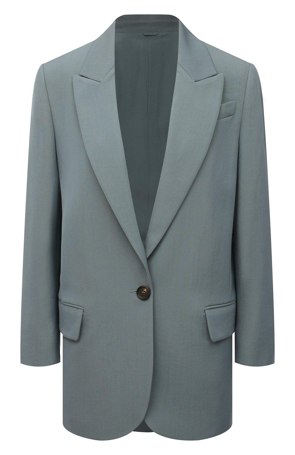 Женский шерстяной жакет BRUNELLO CUCINELLI голубого цвета, арт. MA0332242P   Фото 1 (Материал внешний: Шерсть; Рукава: Длинные; Случай: Повседневный; Материал подклада: Синтетический материал; 1-2-бортные: Однобортные; Женское Кросс-КТ: Жакет-одежда; Стили: Кэжуэл)