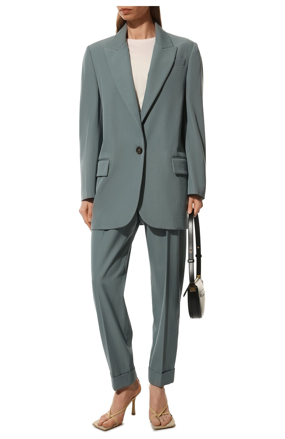 Женский шерстяной жакет BRUNELLO CUCINELLI голубого цвета, арт. MA0332242P   Фото 2 (Материал внешний: Шерсть; Рукава: Длинные; Случай: Повседневный; Материал подклада: Синтетический материал; 1-2-бортные: Однобортные; Женское Кросс-КТ: Жакет-одежда; Стили: Кэжуэл)