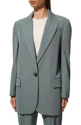 Женский шерстяной жакет BRUNELLO CUCINELLI голубого цвета, арт. MA0332242P   Фото 3 (Материал внешний: Шерсть; Рукава: Длинные; Случай: Повседневный; Материал подклада: Синтетический материал; 1-2-бортные: Однобортные; Женское Кросс-КТ: Жакет-одежда; Стили: Кэжуэл)
