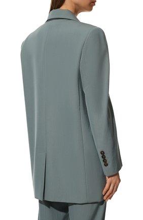 Женский шерстяной жакет BRUNELLO CUCINELLI голубого цвета, арт. MA0332242P   Фото 4 (Материал внешний: Шерсть; Рукава: Длинные; Случай: Повседневный; Материал подклада: Синтетический материал; 1-2-бортные: Однобортные; Женское Кросс-КТ: Жакет-одежда; Стили: Кэжуэл)