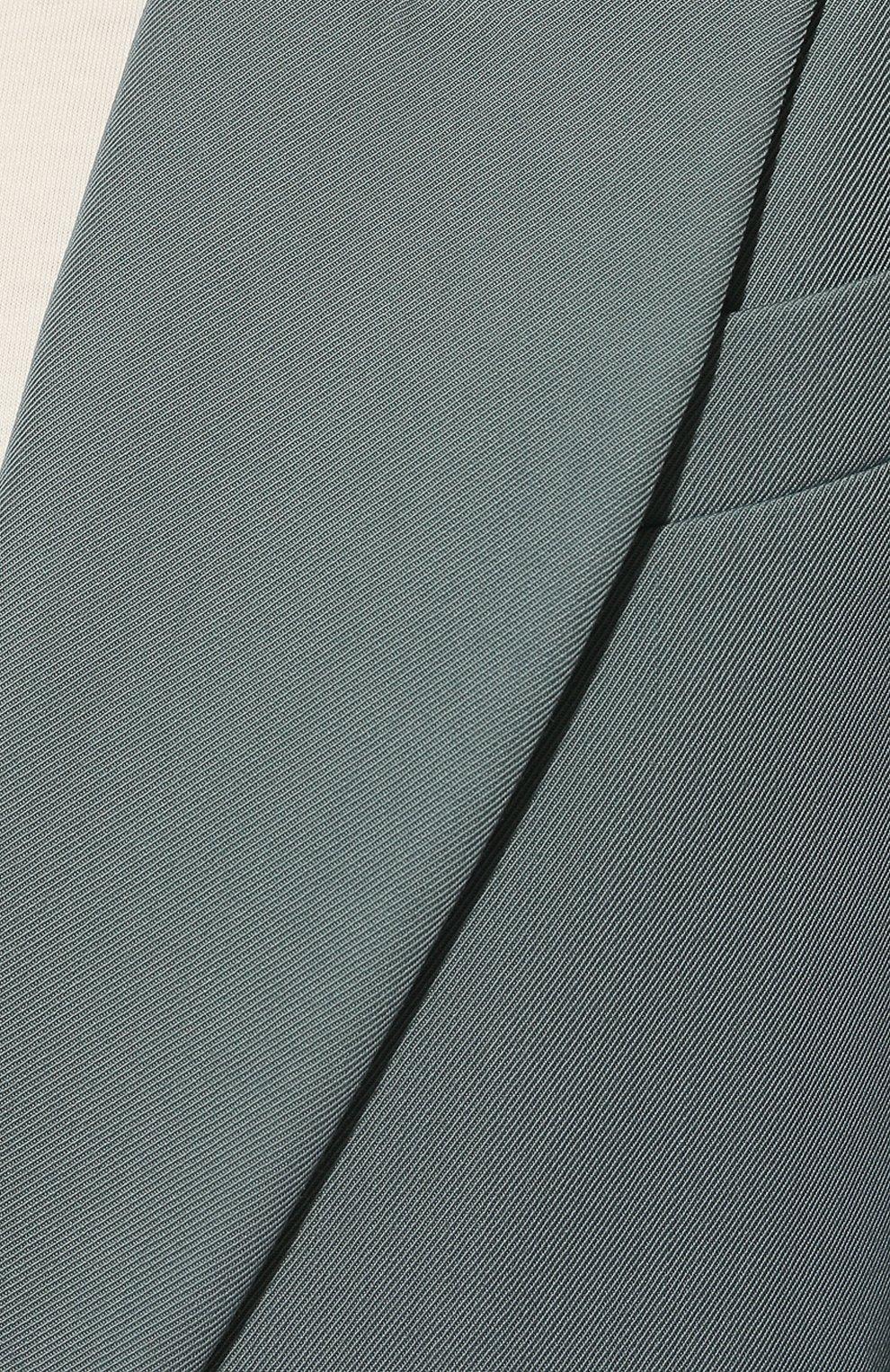 Женский шерстяной жакет BRUNELLO CUCINELLI голубого цвета, арт. MA0332242P   Фото 5 (Материал внешний: Шерсть; Рукава: Длинные; Случай: Повседневный; Материал подклада: Синтетический материал; 1-2-бортные: Однобортные; Женское Кросс-КТ: Жакет-одежда; Стили: Кэжуэл)