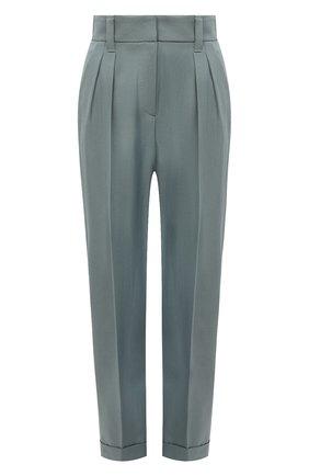Женские шерстяные брюки BRUNELLO CUCINELLI голубого цвета, арт. MP033P7734   Фото 1 (Стили: Кэжуэл; Материал внешний: Шерсть; Женское Кросс-КТ: Брюки-одежда; Силуэт Ж (брюки и джинсы): Прямые; Длина (брюки, джинсы): Стандартные)