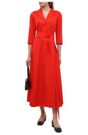 Женское хлопковое платье WEILL красного цвета, арт. 145104 | Фото 2 (Длина Ж (юбки, платья, шорты): Миди; Стили: Романтичный; Материал внешний: Хлопок; Рукава: 3/4; Женское Кросс-КТ: Платье-одежда; Случай: Повседневный)
