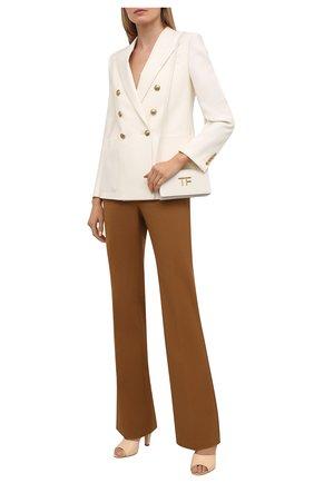 Женские хлопковые брюки VICTORIA BECKHAM коричневого цвета, арт. 1221WTR002664D | Фото 2