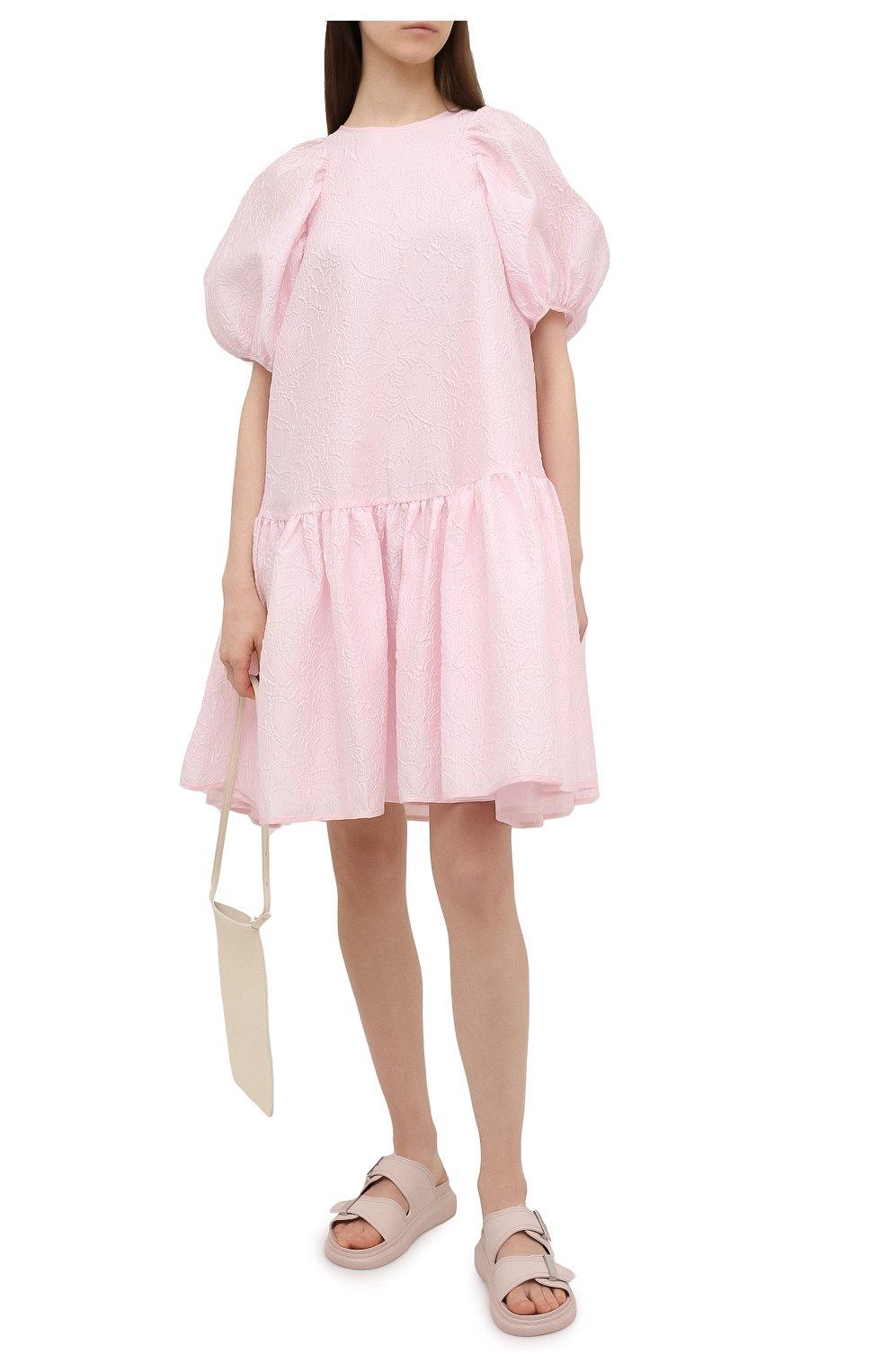 Женские шлепанцы ALEXANDER MCQUEEN светло-розового цвета, арт. 658063/W4Q51   Фото 2 (Материал внешний: Текстиль; Подошва: Платформа; Материал внутренний: Текстиль)