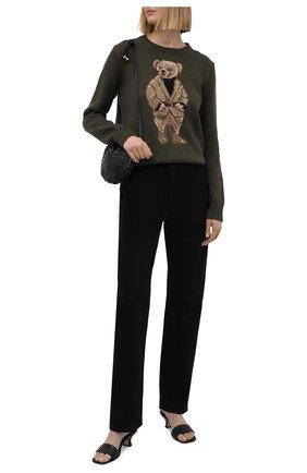 Женский хлопковый свитер POLO RALPH LAUREN хаки цвета, арт. 211839022 | Фото 2 (Стили: Кэжуэл; Длина (для топов): Стандартные; Рукава: Длинные; Женское Кросс-КТ: Свитер-одежда; Материал внешний: Хлопок)