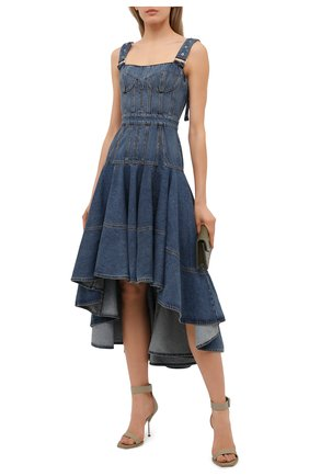 Женское джинсовое платье ALEXANDER MCQUEEN синего цвета, арт. 654852/QMABC | Фото 2 (Стили: Гранж; Женское Кросс-КТ: Платье-одежда; Случай: Повседневный; Длина Ж (юбки, платья, шорты): Миди; Материал внешний: Хлопок; Материал подклада: Хлопок; Кросс-КТ: Деним)