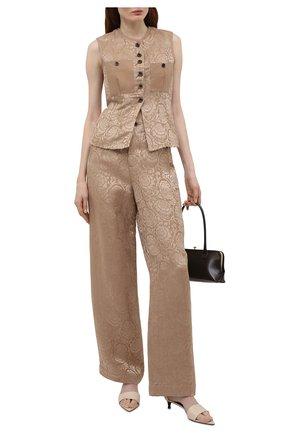 Женские льняные брюки UMA WANG бежевого цвета, арт. S1 W UW3036 | Фото 2 (Силуэт Ж (брюки и джинсы): Широкие; Длина (брюки, джинсы): Стандартные; Женское Кросс-КТ: Брюки-одежда; Стили: Романтичный; Материал внешний: Лен)