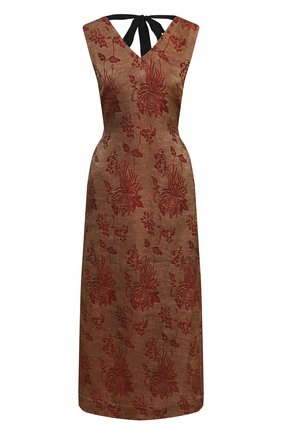 Женское льняное платье UMA WANG коричневого цвета, арт. S1 W UW5052 | Фото 1 (Случай: Повседневный; Материал внешний: Лен, Вискоза; Длина Ж (юбки, платья, шорты): Миди; Стили: Романтичный; Женское Кросс-КТ: Платье-одежда)