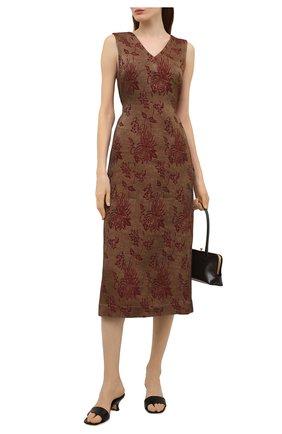 Женское льняное платье UMA WANG коричневого цвета, арт. S1 W UW5052 | Фото 2 (Случай: Повседневный; Материал внешний: Лен, Вискоза; Длина Ж (юбки, платья, шорты): Миди; Стили: Романтичный; Женское Кросс-КТ: Платье-одежда)