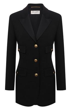 Женский шерстяной жакет SAINT LAURENT черного цвета, арт. 660055/Y512W | Фото 1