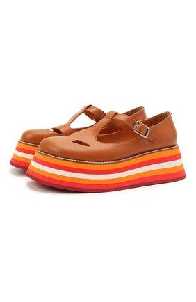 Женская кожаные туфли aldwych BURBERRY коричневого цвета, арт. 8039278 | Фото 1 (Материал внутренний: Натуральная кожа; Подошва: Платформа)