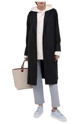 Женские кожаные кеды BURBERRY голубого цвета, арт. 8039959 | Фото 2