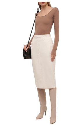 Женская джинсовая юбка N21 бежевого цвета, арт. 21E N2S0/C011/0014   Фото 2