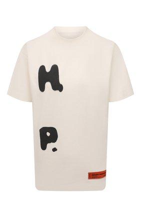 Женская хлопковая футболка HERON PRESTON светло-бежевого цвета, арт. HWAA024R21JER0010410   Фото 1