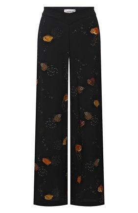 Женские шелковые брюки LANVIN черного цвета, арт. RW-TR0002-4895-E21 | Фото 1