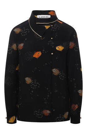 Женская шелковая блузка LANVIN черного цвета, арт. RW-T00008-4895-E21 | Фото 1