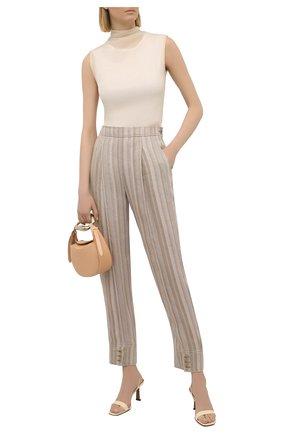Женские льняные брюки GIORGIO ARMANI бежевого цвета, арт. 1WHPP0JE/T02IM   Фото 2