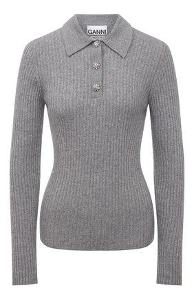 Женский шерстяной пуловер GANNI серого цвета, арт. K1513 | Фото 1