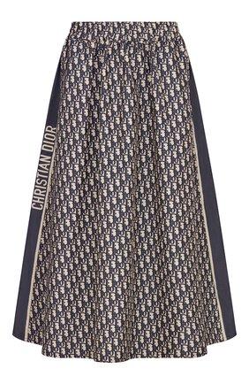 Женская юбка DIOR синего цвета, арт. 127J24A2970X5803 | Фото 1 (Материал внешний: Синтетический материал; Длина Ж (юбки, платья, шорты): Миди; Стили: Романтичный)