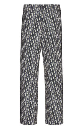 Женские брюки DIOR синего цвета, арт. 127P16A2970X5803 | Фото 1 (Силуэт Ж (брюки и джинсы): Прямые; Женское Кросс-КТ: Брюки-одежда; Стили: Романтичный; Материал внешний: Синтетический материал; Длина (брюки, джинсы): Стандартные)