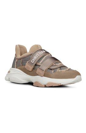 Женские комбинированные кроссовки d-wandler DIOR бежевого цвета, арт. KCK299CNFS12U | Фото 2 (Материал внешний: Текстиль)