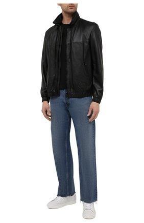 Мужская кожаная куртка  DIESEL черного цвета, арт. A02282/0KBAS | Фото 2