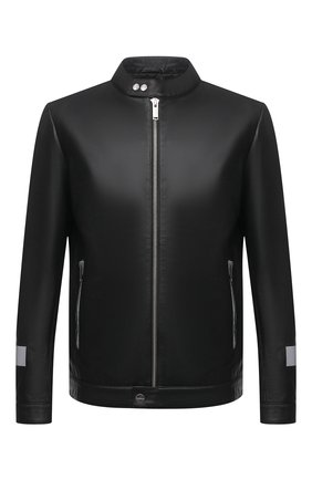 Мужская кожаная куртка ICEBERG черного цвета, арт. 21E I1P0/Z021/6801 | Фото 1 (Мужское Кросс-КТ: Кожа и замша; Длина (верхняя одежда): Короткие; Стили: Гранж; Материал подклада: Синтетический материал; Рукава: Длинные; Кросс-КТ: Куртка)
