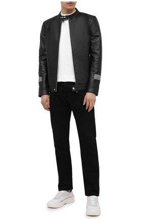 Мужская кожаная куртка ICEBERG черного цвета, арт. 21E I1P0/Z021/6801 | Фото 2 (Мужское Кросс-КТ: Кожа и замша; Длина (верхняя одежда): Короткие; Стили: Гранж; Материал подклада: Синтетический материал; Рукава: Длинные; Кросс-КТ: Куртка)