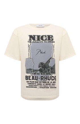 Мужская хлопковая футболка RHUDE светло-бежевого цвета, арт. RHPS21TT00000008 | Фото 1