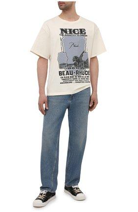 Мужская хлопковая футболка RHUDE светло-бежевого цвета, арт. RHPS21TT00000008 | Фото 2