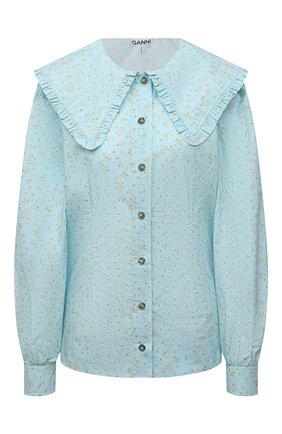 Женская хлопковая блузка GANNI голубого цвета, арт. F5911 | Фото 1