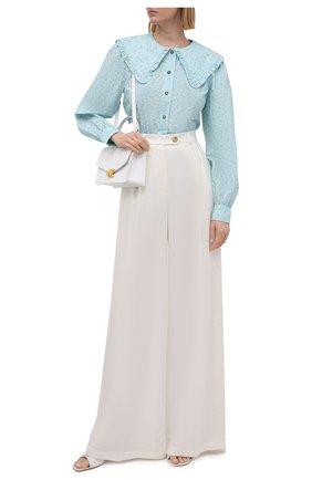 Женская хлопковая блузка GANNI голубого цвета, арт. F5911 | Фото 2