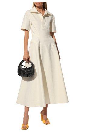 Женское льняное платье BOTTEGA VENETA белого цвета, арт. 656376/V00E0 | Фото 2