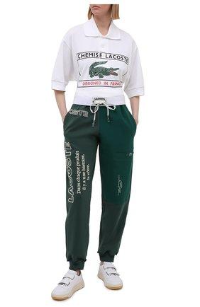 Женские хлопковые джоггеры LACOSTE зеленого цвета, арт. XH02443M2   Фото 2