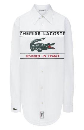 Женская хлопковая рубашка LACOSTE белого цвета, арт. CH0246001   Фото 1