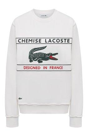 Женский хлопковый свитшот LACOSTE белого цвета, арт. SH024170V   Фото 1