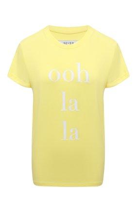 Женская хлопковая футболка SEVEN LAB желтого цвета, арт. T21-OLL G01 yellow   Фото 1