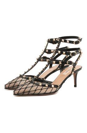 Женские комбинированные туфли rockstud VALENTINO черного цвета, арт. VW0S0375/JNM   Фото 1